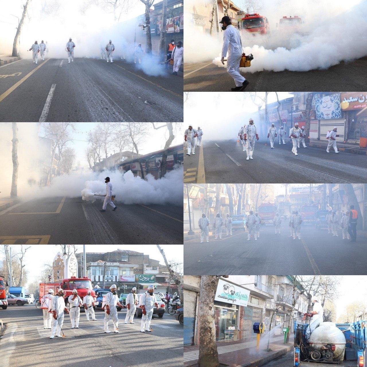 کار کارستان شهرداری لاهیجان برای ضدعفونی کردن سطح شهر